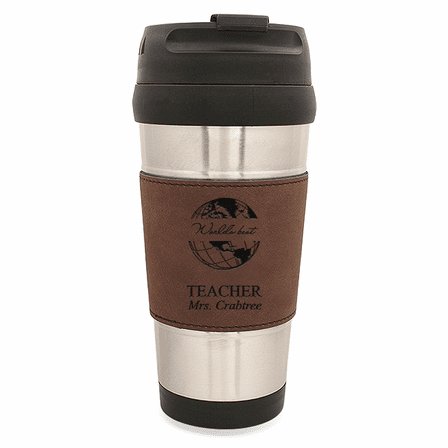 World's Best Teacher Dark Brown Leatherette Travel Mug