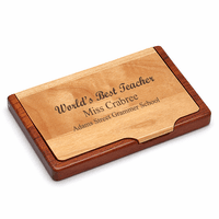 World's Best Teacher Engraved Business Card Holder