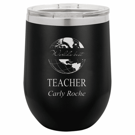 World's Best Teacher Personalized 12 Ounce Black Insulated Stemless Wine Glass