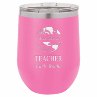 World's Best Teacher Personalized 12 Ounce Pink Insulated Stemless Wine Glass