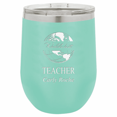 World's Best Teacher Personalized 12 Ounce Teal Insulated Stemless Wine Glass