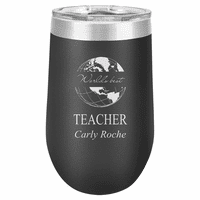 World's Best Teacher Personalized 16 Ounce Black Insulated Stemless Wine Glass