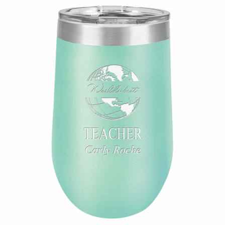 World's Best Teacher Personalized 16 Ounce Teal Insulated Stemless Wine Glass