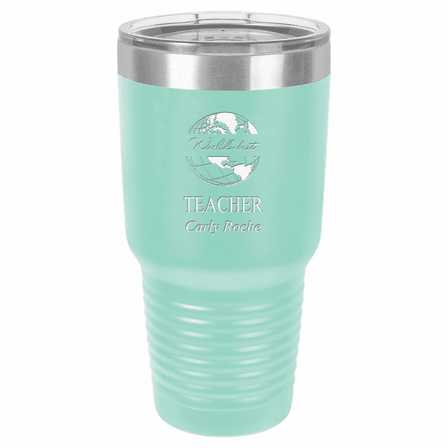 World's Best Teacher Personalized 30 Ounce Teal Polar Camel Ringneck Tumbler