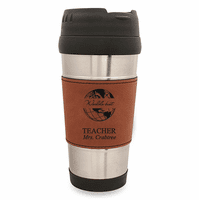 World's Best Teacher Rawhide LeatheretteTravel Mug