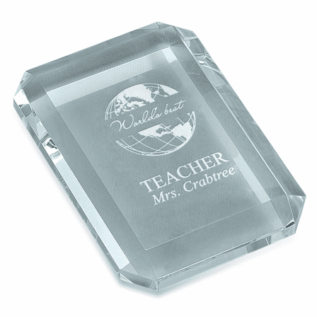 World's Best Teacher Rectangular Glass Paperweight
