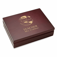 World's Best Teacher  Rosewood Finish Playing Card Box