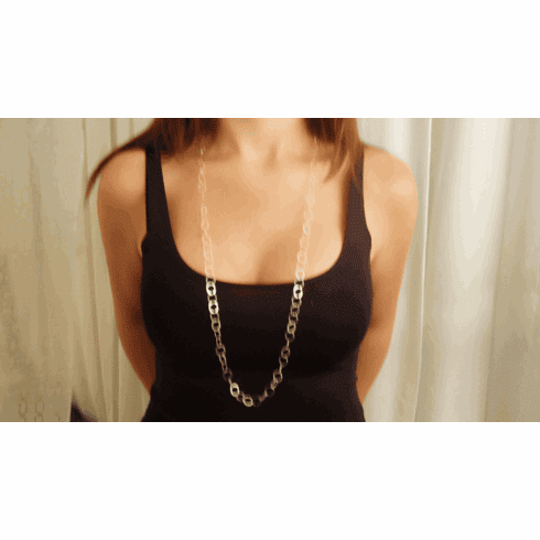 "Lisa Taubes 36"" sterling silver chain necklace"