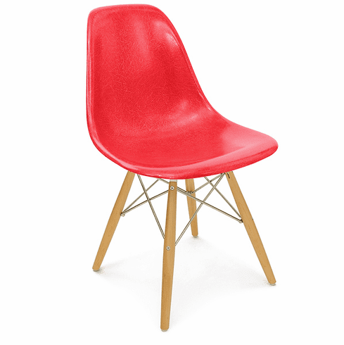 RED FIBERGLASS SIDE CHAIR