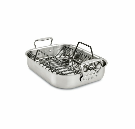 All-Clad Stainless Petite Roti Pan with Roasting Rack (11 x 14)