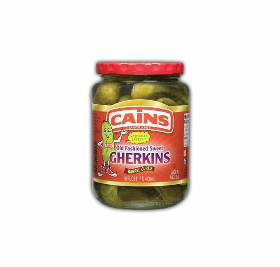 Cains Old Fashioned Sweet Gherkins 16 oz.