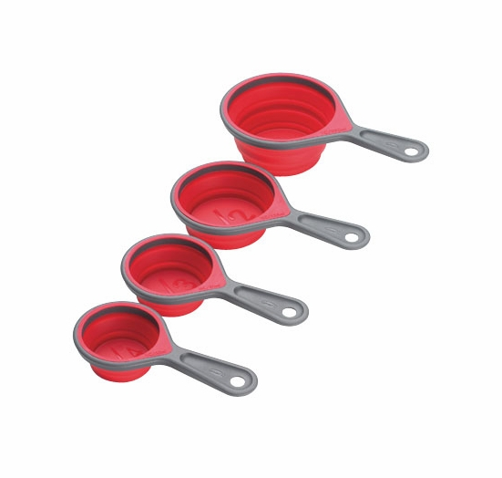 Chef'n Sleekstor 4 pc. Collapsible Cup Set, Cherry