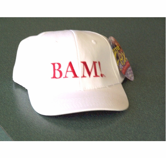 """Emeril White Baseball Cap with """"Bam!"""" Embroidered in Red"""