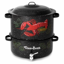 * Granite Ware Decorated Clam & Lobster Steamer 19 Qt. w/Lid & Faucet (6194-1)