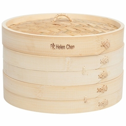 Helen's Asian Kitchen 10-Inch 3-Pc Bamboo Steamer