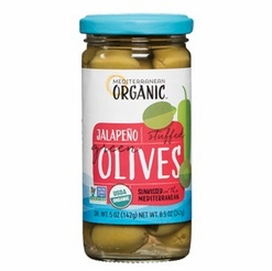 Mediterranean Organic Stuffed Green Olives Jalapeno Peppers 8.5 oz.