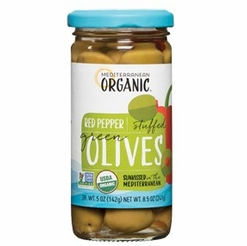* Mediterranean Organic Stuffed Green Olives Red Peppers 8.5 oz.