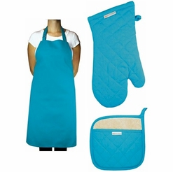 MuKitchen 3-Piece Chef's Set, Sea Blue (Apron, Mitt & Potholder)
