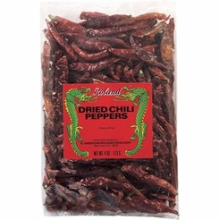 Roland Small Whole Dried Chili Peppers 4 oz. Bag