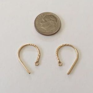 14k Gold-Filled Fancy Earwires Round Hammered, 19mm, 1 pair, nbr21