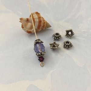 Sterling Silver Bali Star Bead Cap, Oxidized, 6 pieces, bc12
