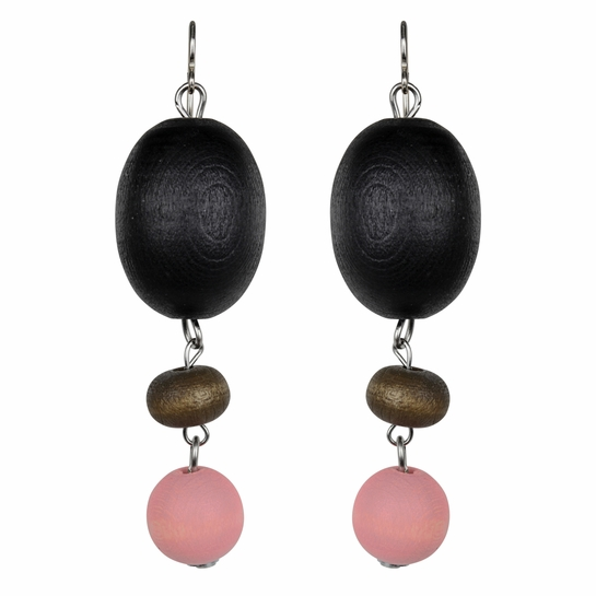aarikka Kastanja Black / Brown / Pink Earrings