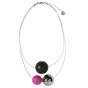 Aarikka Tellus Raspberry / Coal Necklace