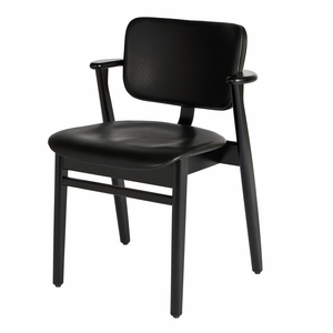 Artek Domus Black Lacquered Leather Upholstered Chair