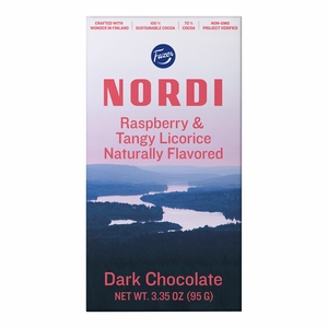 Fazer Nordi Raspberry & Tangy Licorice Dark Chocolate Bar