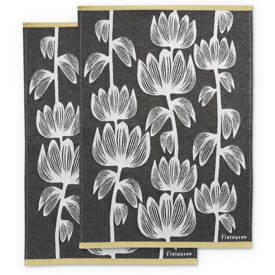 Finlayson Alma Black / White / Gold Tea Towel Set