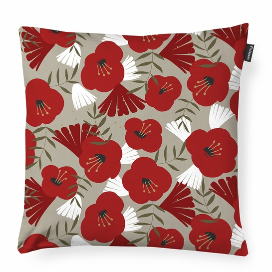 Finlayson Anni Beige / Red / Gold Throw Pillow