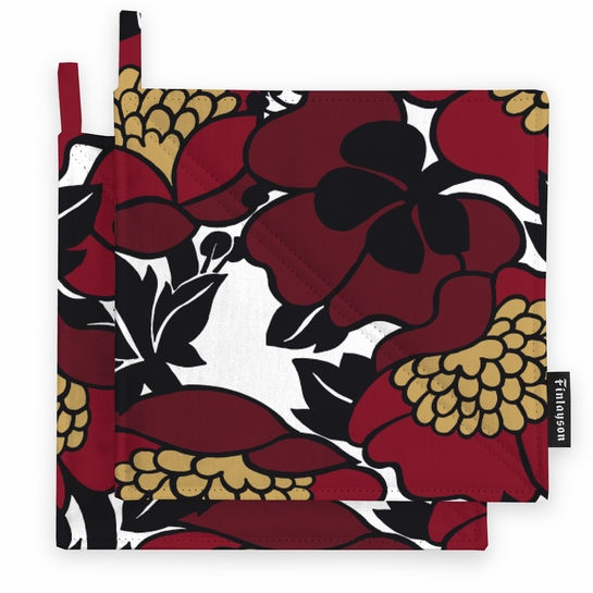 Finlayson Annukka Red Pot Holders - Set of 2