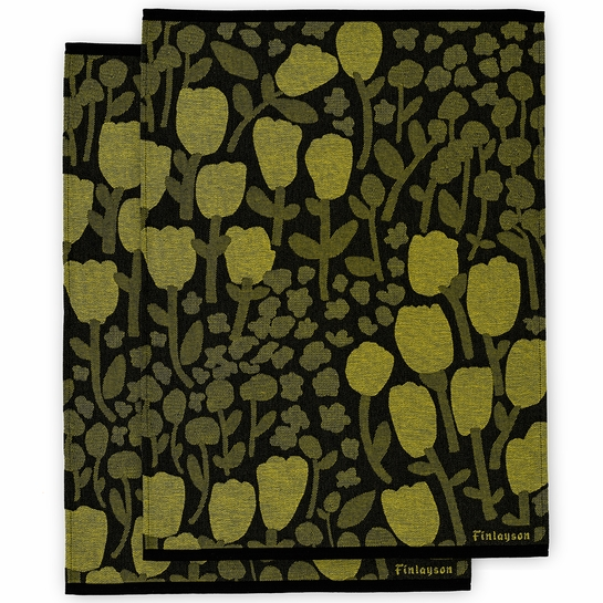 Finlayson Huiske Black / Chartreuse Tea Towels - Set of 2