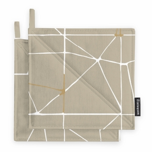 Finlayson Loisto Beige / White / Gold Pot Holder Set