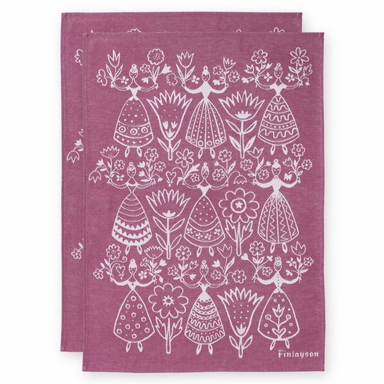 Finlayson Neidot Burgundy Tea Towel Set