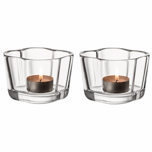 iittala Aalto Clear Candle Holders - Set of 2