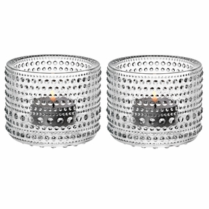 iittala Kastehelmi Clear Candle Holders - Set of 2