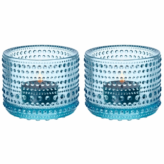 iittala Kastehelmi Light Blue Candle Holder 2pc Set