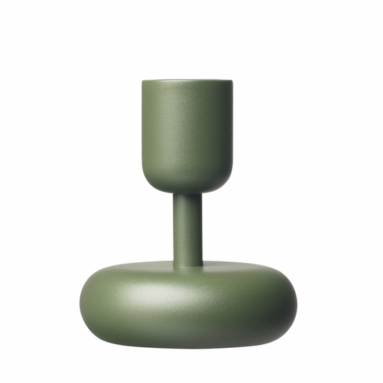 iittala Nappula Moss Green Short Candle Holder