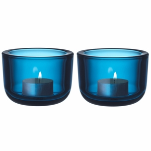 iittala Valkea Turquoise Tealight Candle Holders - Set of 2