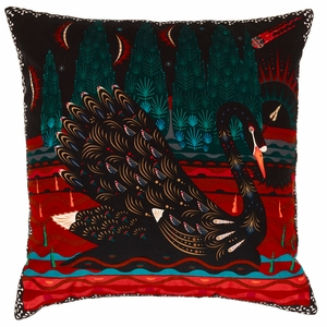 Klaus Haapaniemi Black Swan Velvet X-Large Throw Pillow