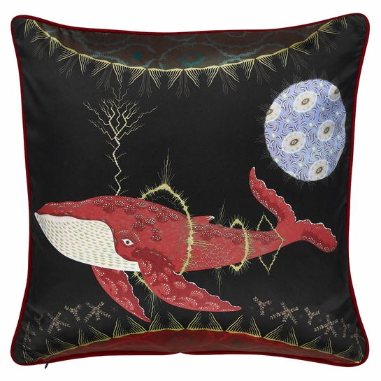 Klaus Haapaniemi Cosmic Whale Lilac Planet Silk Large Throw Pillow