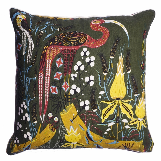 Klaus Haapaniemi Crane Green Throw Pillow