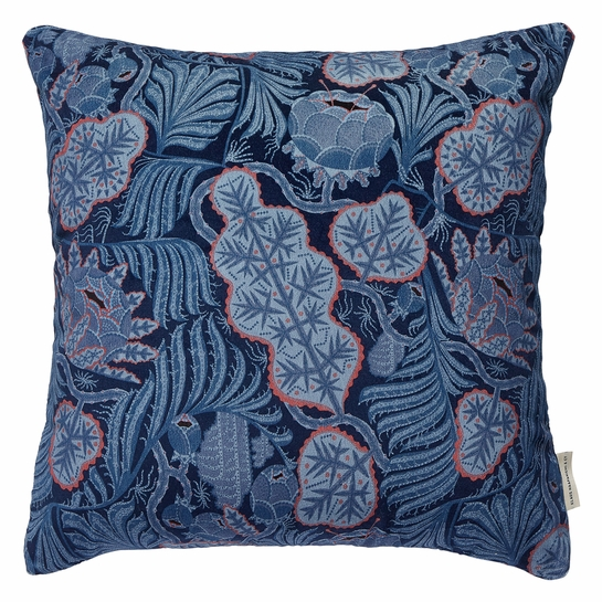 Klaus Haapaniemi Iceflower Blue Velvet Throw Pillow