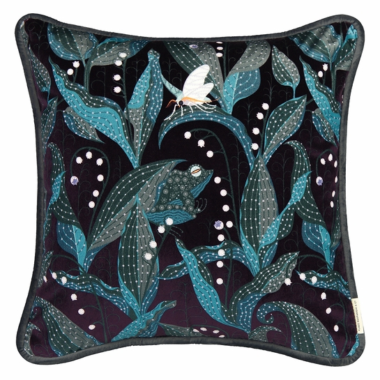 Klaus Haapaniemi Lily of the Valley Dark Violet Velvet Throw Pillow