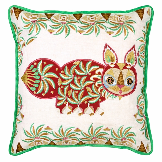 Klaus Haapaniemi Pippa Red Embroidered Throw Pillow