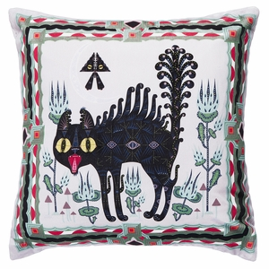 Klaus Haapaniemi Scary Cat Velvet Throw Pillow