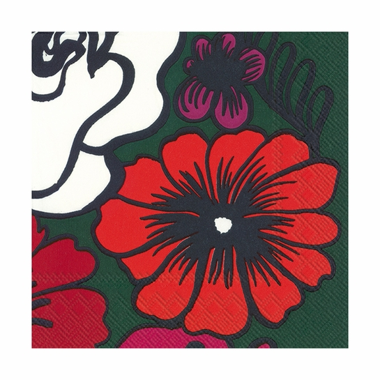 Marimekko Elakoon Elama Green / Red Lunch Napkins