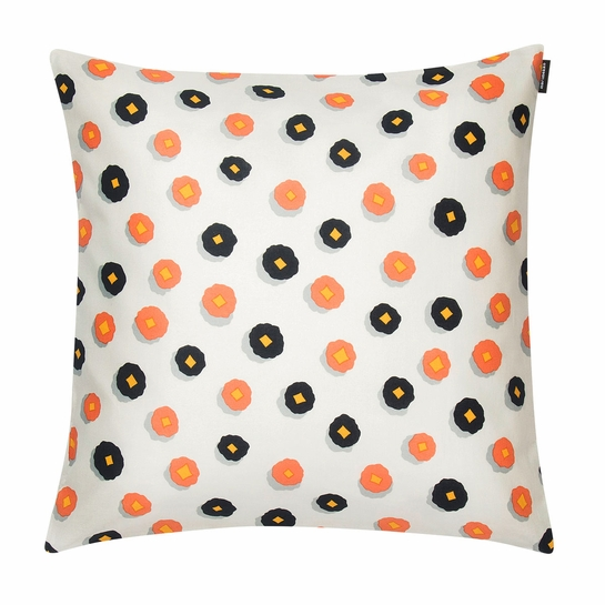 Marimekko Huiskilo Ecru / Peach / Navy Small Throw Pillow