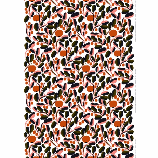 Marimekko Jaspi White / Orange Acrylic-coated Cotton Fabric